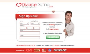 Divorce Dating Landing page