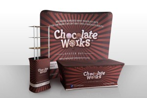 Chocolate Works Table, Backdrop, Stand