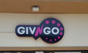 Giv n go logo gas station sign