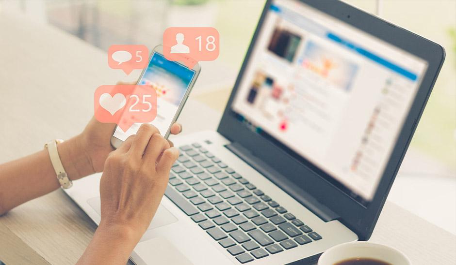 social media likes on phone