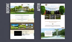 Pinelawn website design before and after