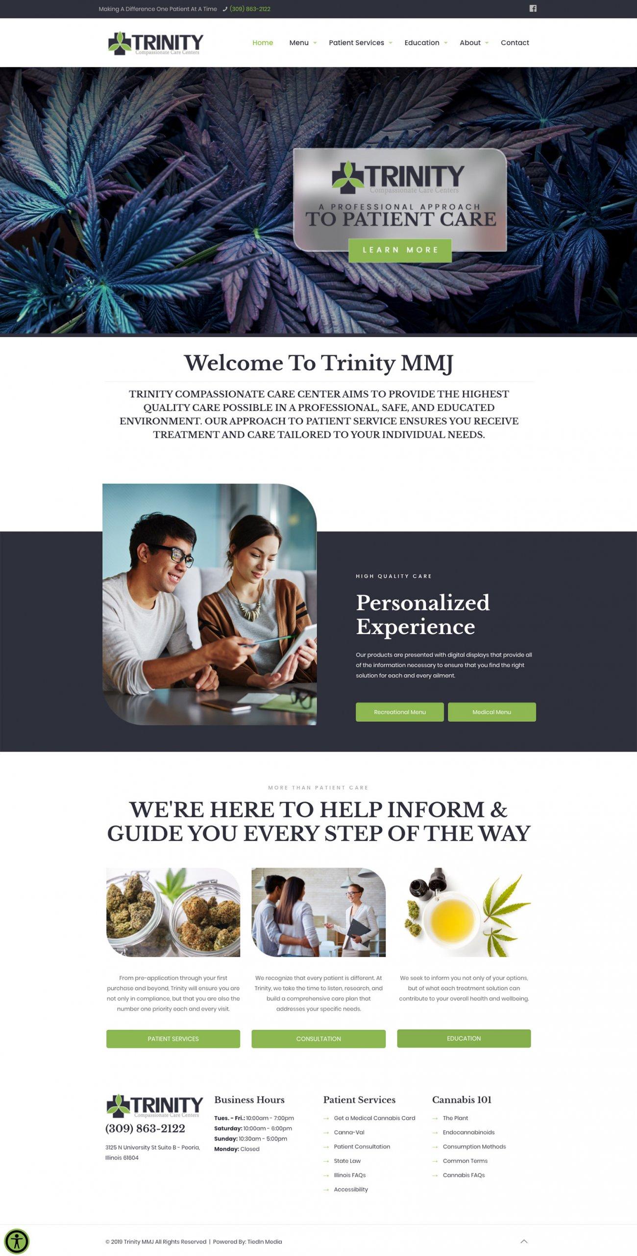 Trinity website homepage design
