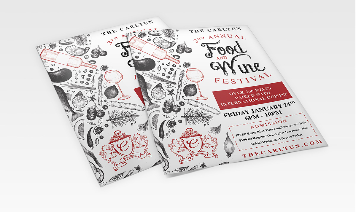 The Carltun wine and food festival poster