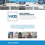 Warsaw Construction website design about page mockup