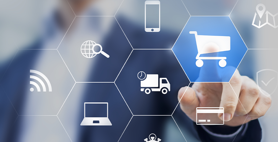 E commerce touching icons